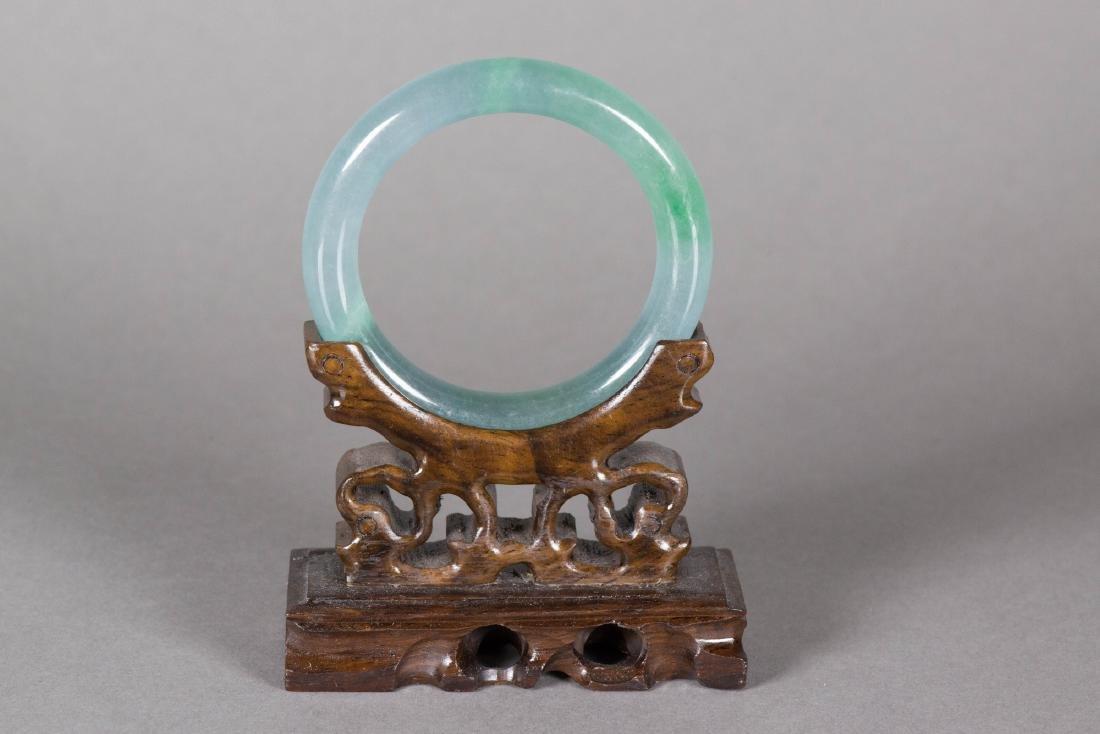 Chinese Celadon Green Jadeite Carved Bangle - 2