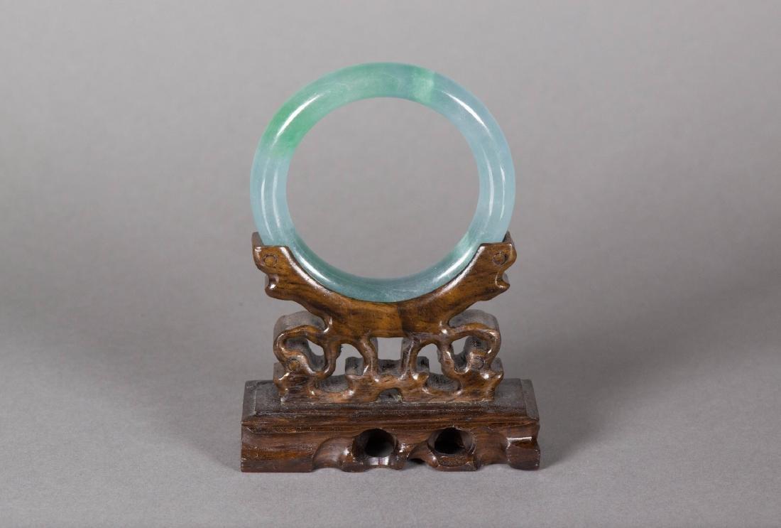 Chinese Celadon Green Jadeite Carved Bangle - 3