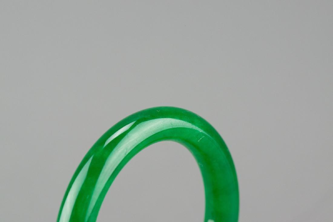 Chinese Emerald Green Jadeite Bangle - 2