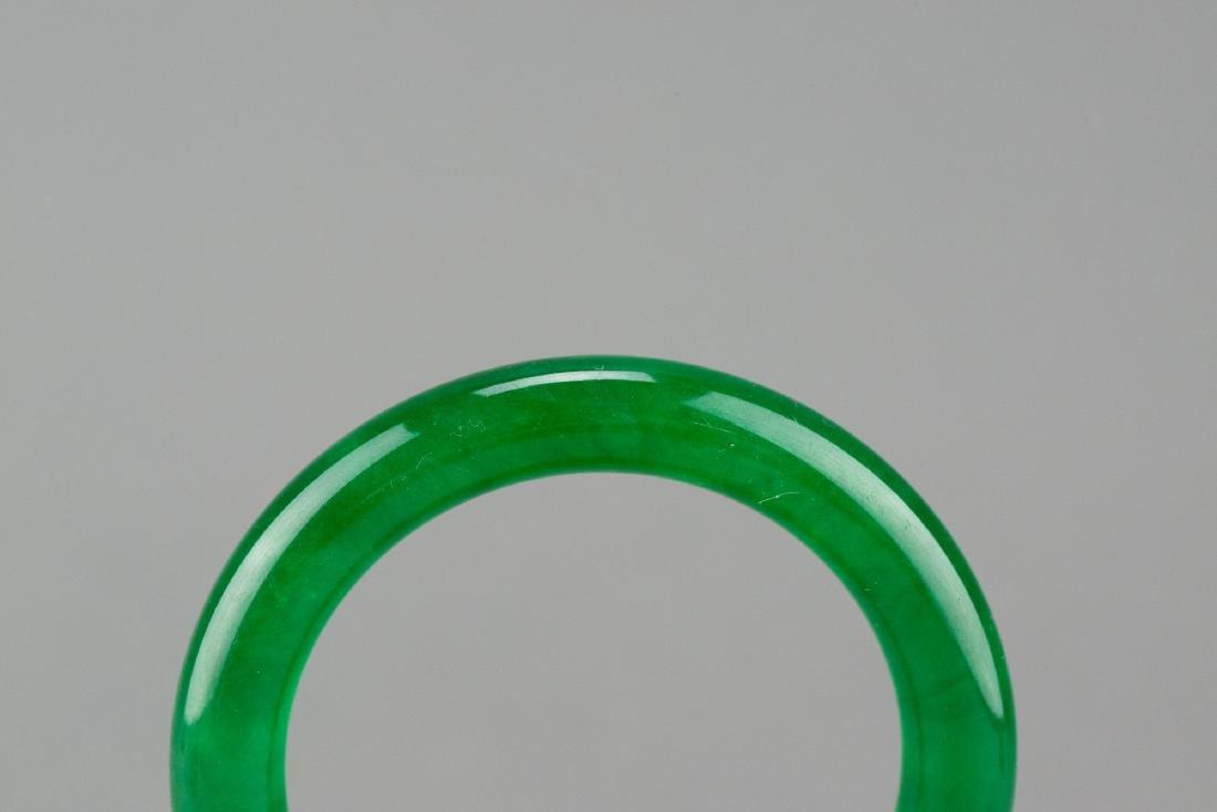 Chinese Emerald Green Jadeite Bangle - 3