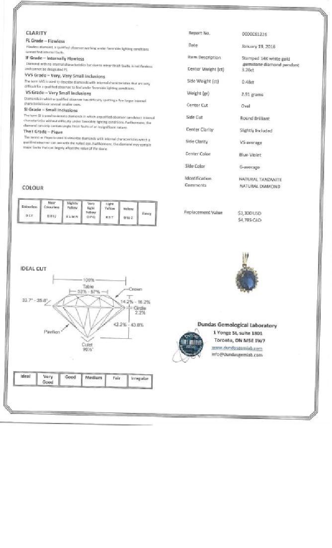 3.26ct Tanzanite & 0.48ct Diamond Pendant CRV$4785 - 5