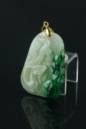 Chinese Green Jadeite Dragon Pendant with 18K Bail