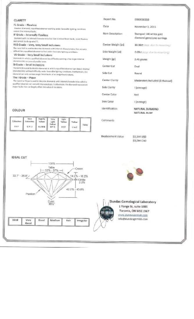 10.30ct Ruby and 0.08ct Diamond Earrings CRV$3094 - 4