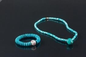 2 PC Chinese Turquoise Bracelet and Necklace