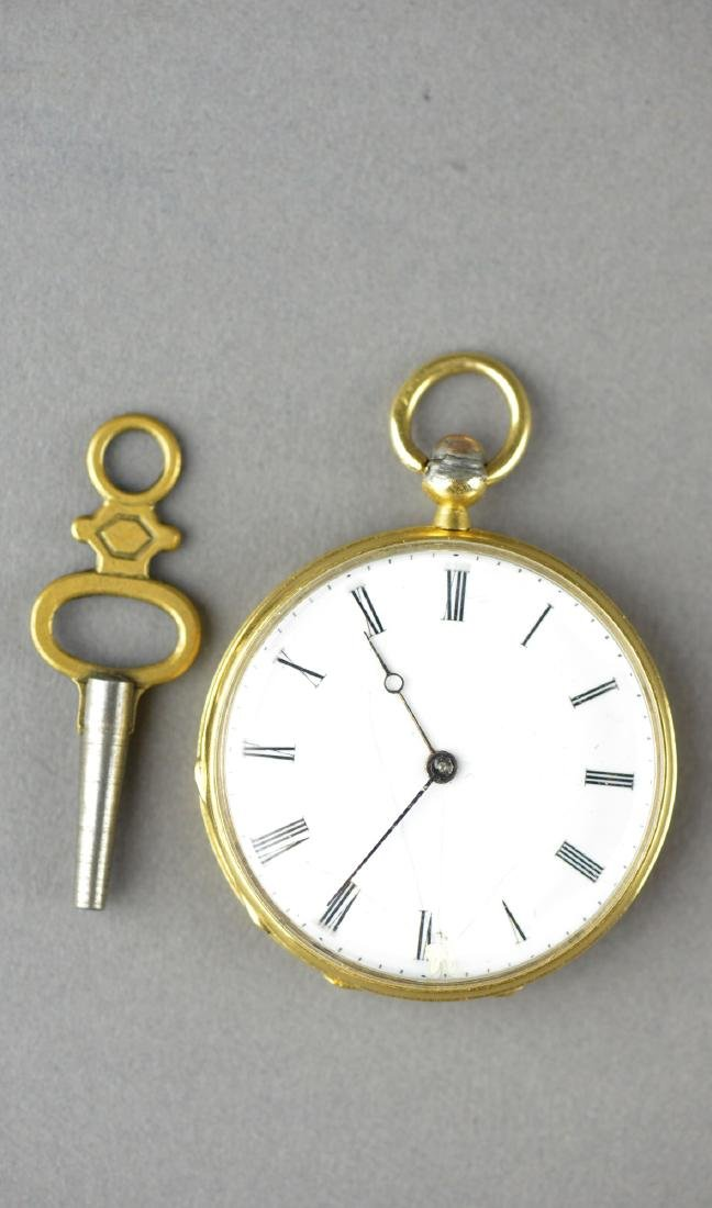 Antique Chinese Cylinder Pocket Watch with Key