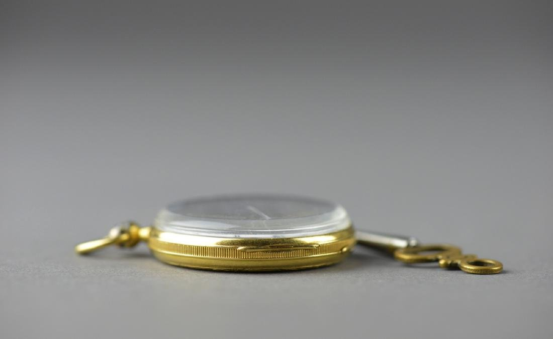 Antique Chinese Cylinder Pocket Watch with Key - 2