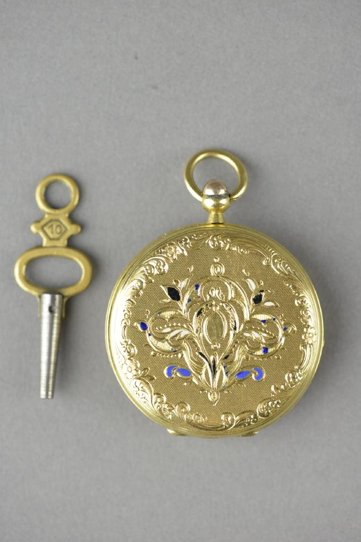 Antique Chinese Cylinder Pocket Watch with Key - 3