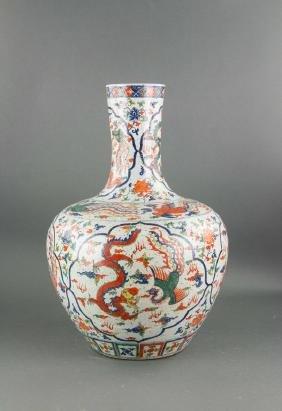 Chinese Large Wucai Porcelain Vase Ming Wanli Mark
