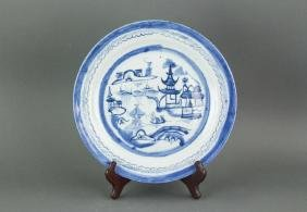 18. C Chinese Exported Blue&White Porcelain Plate