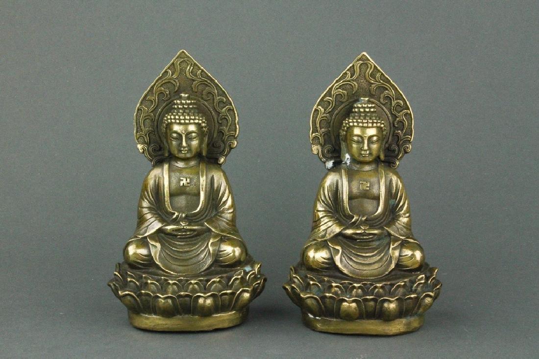 Pair Chinese Bronze Buddha Figures w/ Qing Mk