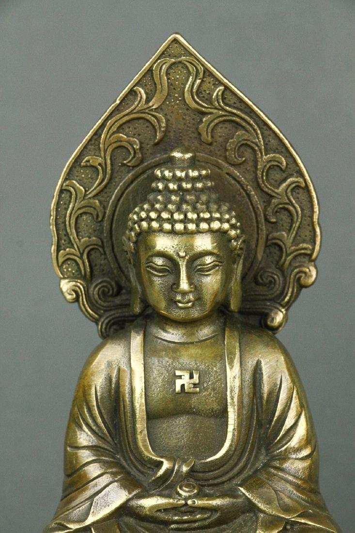 Pair Chinese Bronze Buddha Figures w/ Qing Mk - 2
