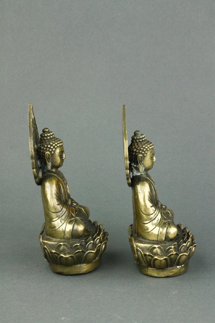 Pair Chinese Bronze Buddha Figures w/ Qing Mk - 3