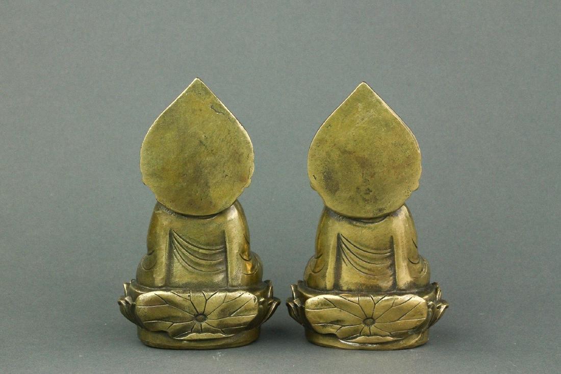 Pair Chinese Bronze Buddha Figures w/ Qing Mk - 4