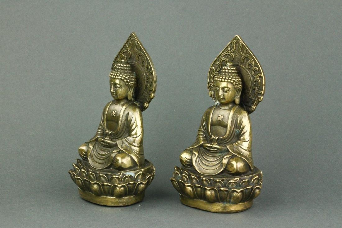 Pair Chinese Bronze Buddha Figures w/ Qing Mk - 5