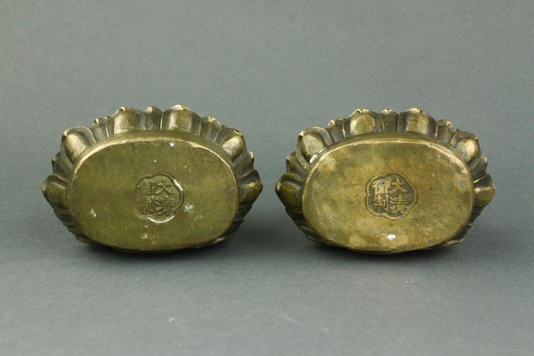 Pair Chinese Bronze Buddha Figures w/ Qing Mk - 6