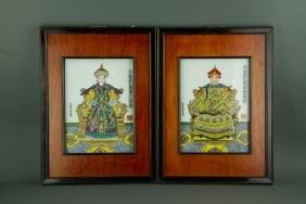 Chinese Pair Emperor & Empmpress Portait on Plague