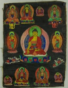 Chinese Tanka Painting on Silk