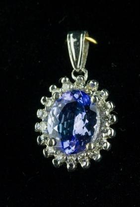 14k Gold 1.80ct Tanzanite & 0.30ct Diamond Pendant