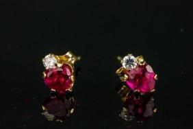 10K Gold Synthetic Ruby Earrings Retail $150