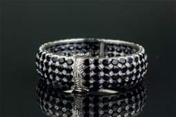 37.4ct Sapphire Sterling Silver Bracelet CRV $1599