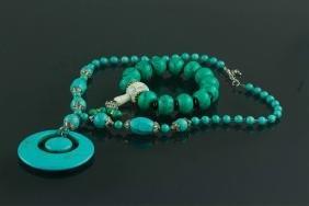 2 Pc Chinese Turquoise-like Bracelet & Necklace