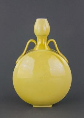 Chinese Yellow Glaze Porcelain Moon Flask Vase