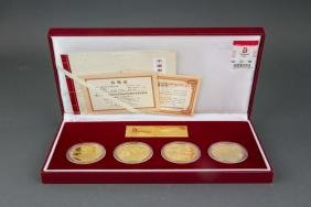 Chinese 2008 Olympic  Gold Platted Coins w/ Cert