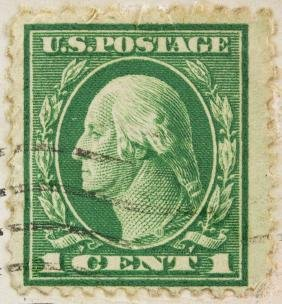 United States 1930's One Cent Stamp with Post Card