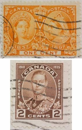 Canada 1897 One Cent & 1935 Two Cents Stamp