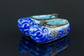 Chinese Blue Enameled Bronze Shoe Form Brush Rest