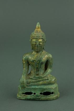 17th Century Burmese Bronze Gilt Buddha Figure