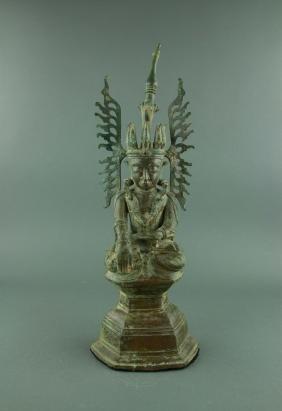 17/18th Century Burmese Gilt Bronze Buddha Figure