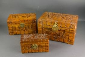 3 PC Chinese Camphor Wood Jewellery Box