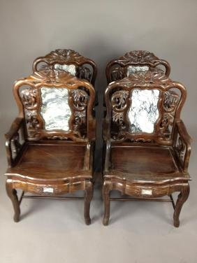 Set of 4 19thC Qing Chinese Rosewood Chairs