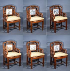 Set 6 Qing Period Rosewood Chairs Inset Marble