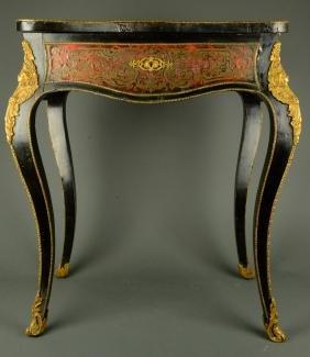 Ornate European Bronze and Boulle Ebonized Table