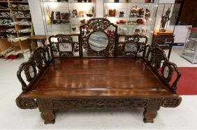 Chinese Rosewood Carved Opium Bed Inset Marble