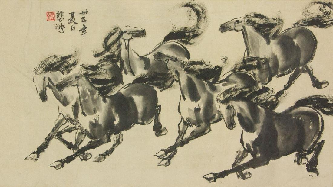 Xu Beihong 1895-1953 Chinese Ink on Paper Roll