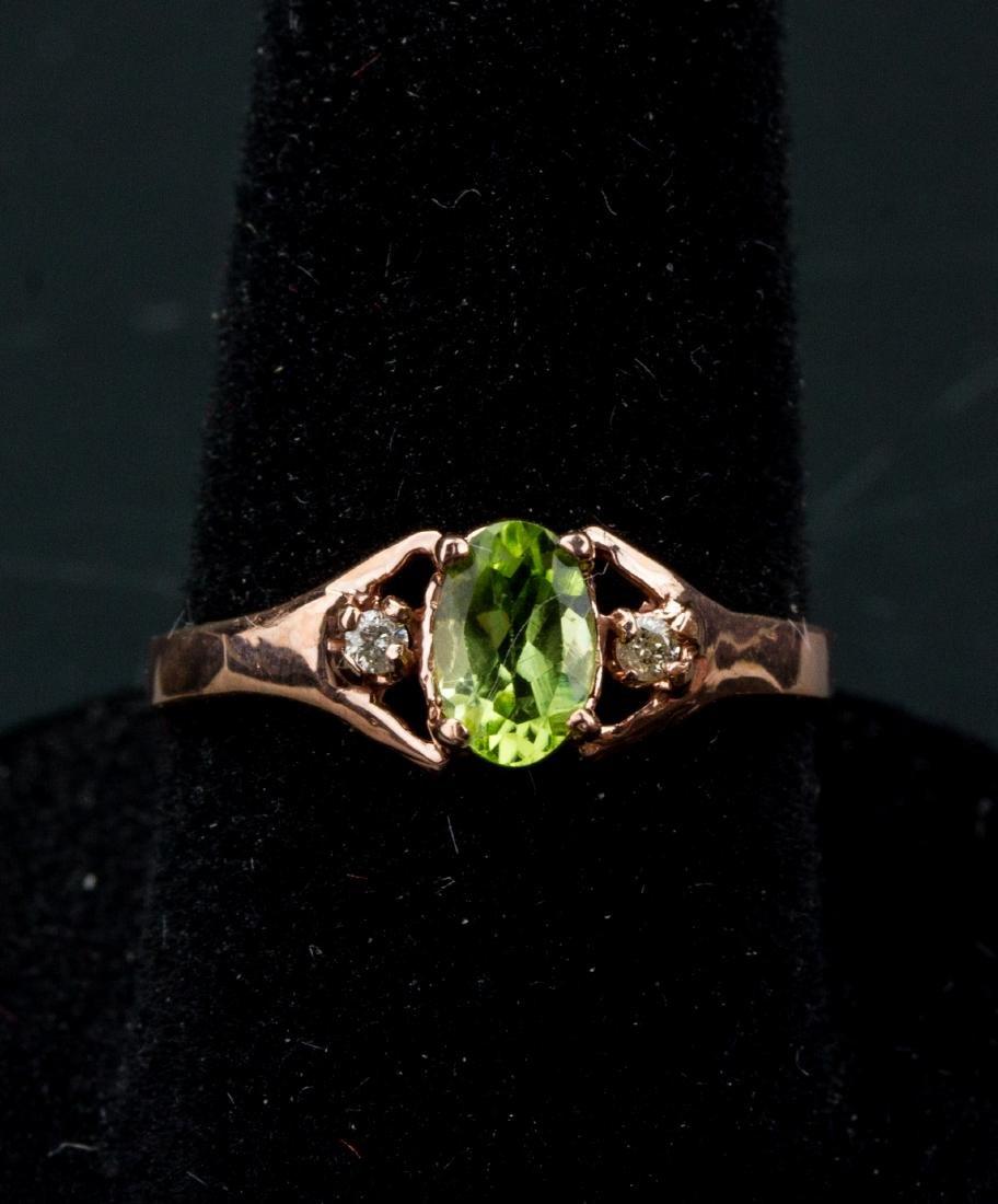 10kt Rose Gold Peridot & Diamond Ring CRV$550