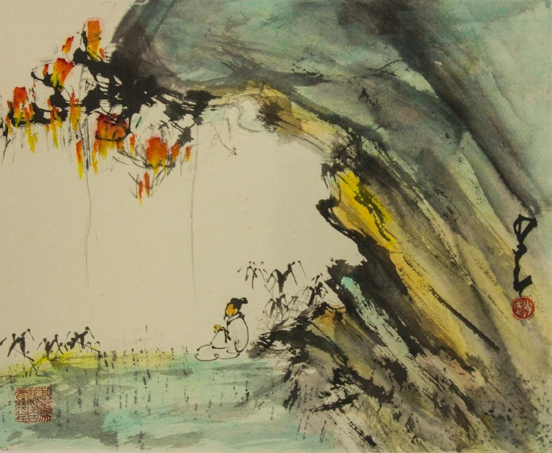 Zhao Shaoang 1909-1998 Watercolour on Paper Roll