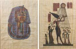 2 PC Egyptian Papyrus Painting Framed