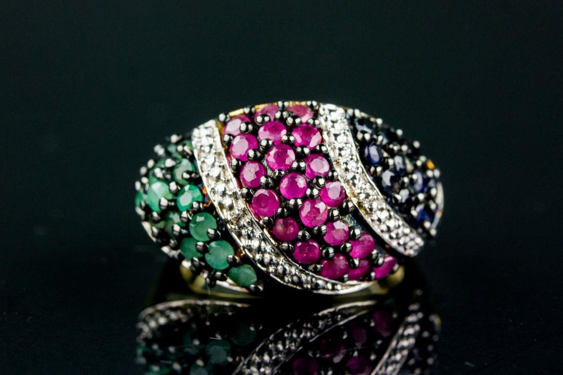 1.10ct Sapphire, Ruby and Emerald Ring CRV$825
