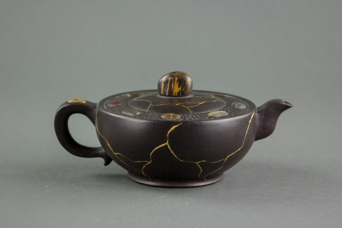 Chinese Fine Zisha Teapot w/ Lu Yaochen b.1941 Mk