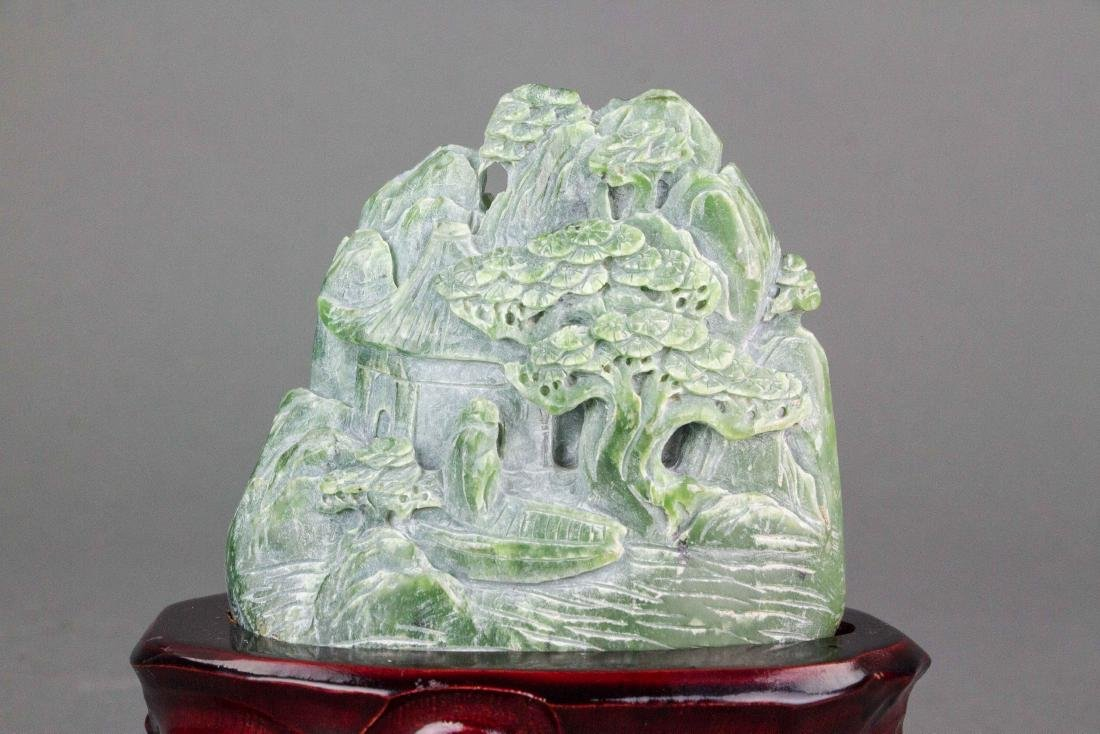 Hetian Green Jade Carved Boulder with Stand - 2