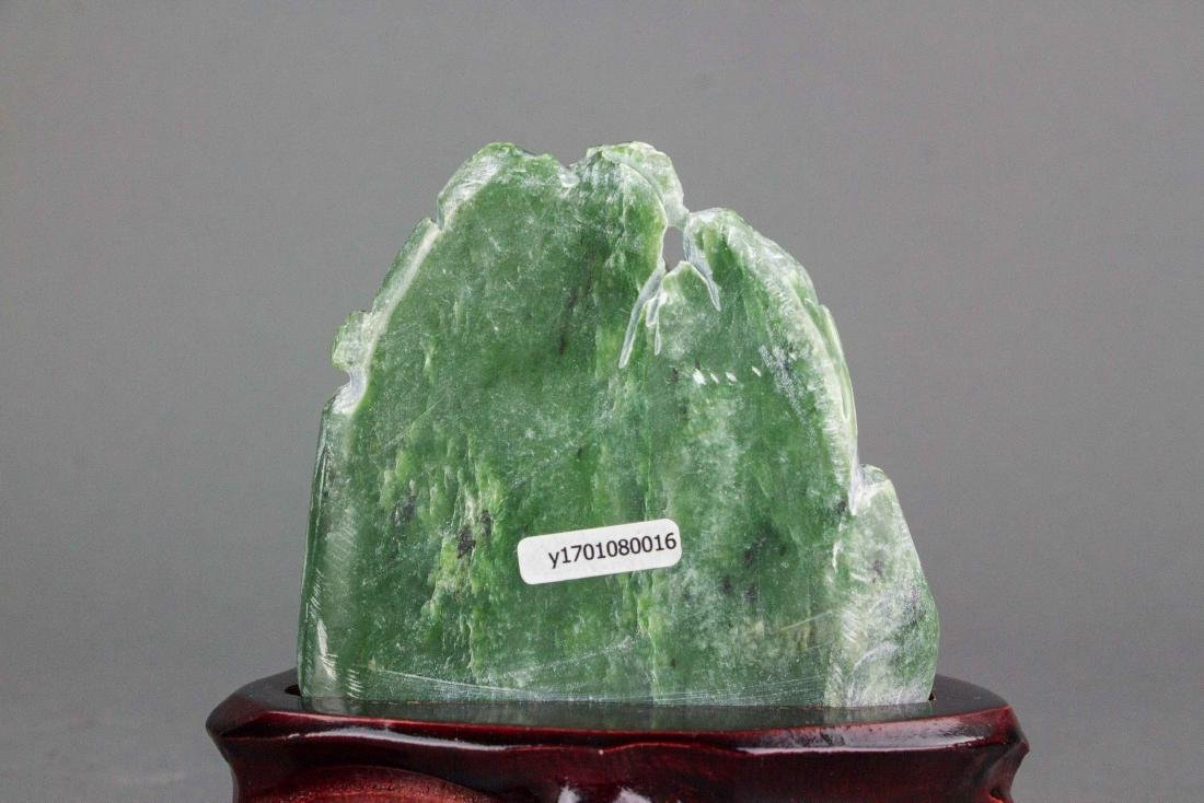 Hetian Green Jade Carved Boulder with Stand - 3