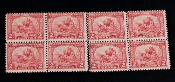 8 PC 1920 US Landing of Pilgrims 2 Cents Stamp
