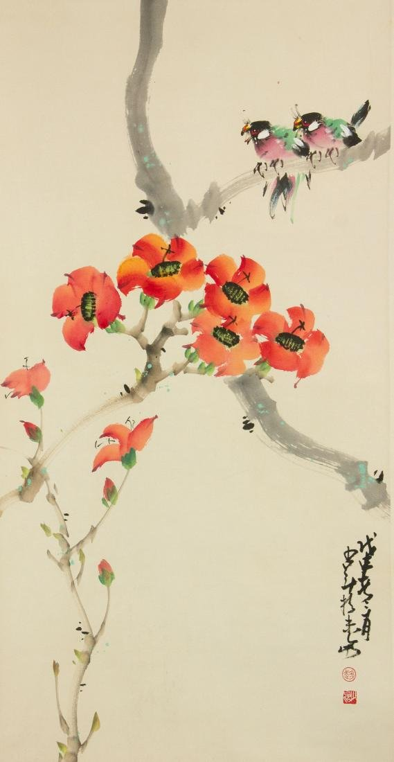 Zhao Shaoang 1905-1998 Watercolour on Paper Scroll