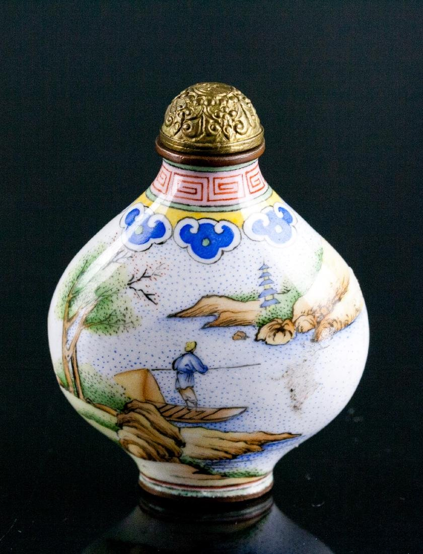 Chinese Famille Rose Bronze Snuff Bottle Qianlong
