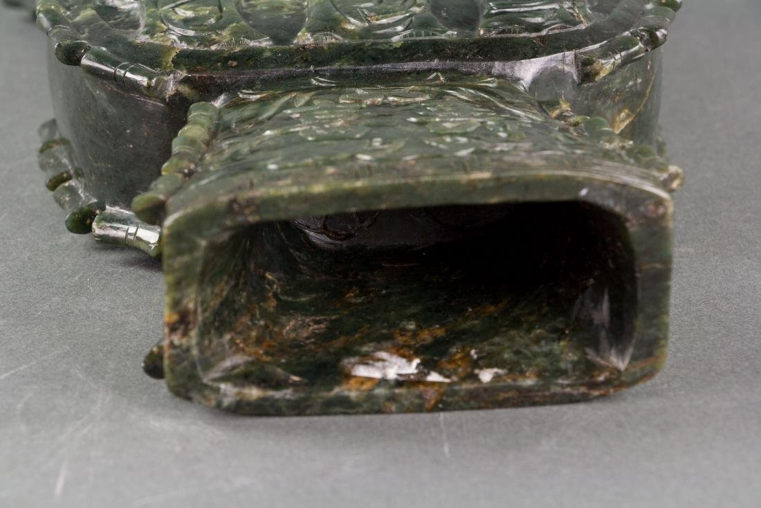 Chinese Large Spinach Jade Carved Vessel - 5