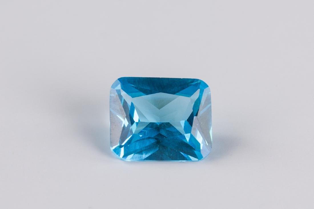 Sea Blue Sapphire 7.52CT Emerald Cut 10X12mm - 3